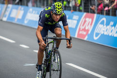 Aprica, Ιταλία 26 maggio 2015  Επαγγελματικός ποδηλάτης κατά τη διάρκεια ενός σταδίου του γύρου της Ιταλίας 2015 Στοκ Εικόνες