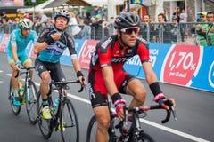 Aprica, Italia 26 maggio 2015; Fachowy cyklista podczas sceny wycieczka turysyczna Włochy 2015 Obrazy Royalty Free