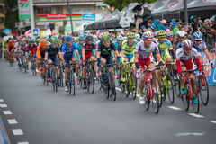 Aprica, Italia 26 maggio 2015; Grupa Fachowi cykliści podczas sceny wycieczka turysyczna Włochy 2015 Zdjęcia Stock