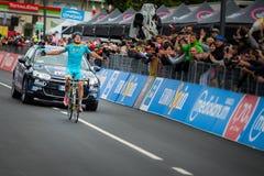 Aprica Italia 26 maggio 2015; Mikel Landa Winner av en etapp av turnera av Italien 2015 Royaltyfri Bild