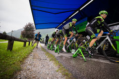 Aprica, Italia 26 maggio 2015; Professional cyclists before a stage of the Tour of Italy 2015 Stock Photos