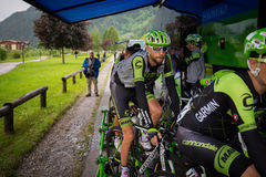 Aprica, Italia 26 maggio 2015; Professional cyclists before a stage of the Tour of Italy 2015 Royalty Free Stock Images