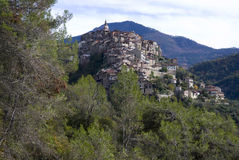Apricale. Ancient village of Italy Stock Photos