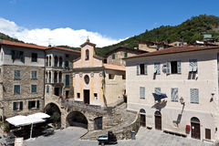 Apricale medieval village a with a lovely central piazza. Royalty Free Stock Photos