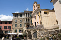 Apricale medieval village, restaurant in historic square. Imperia Province Royalty Free Stock Images