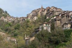 Apricale Vila antiga, província dos impérios, Itália Imagens de Stock Royalty Free