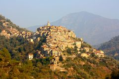 Apricale village in Liguria, Italy stock photo