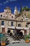 Apricale village, Liguria, Italy. The central square. Stock Photography
