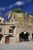 Apricale village, Liguria, Italy. The central square. Royalty Free Stock Photo