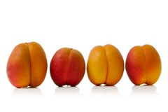 Apricot. Colorful apricots isolated over white background Royalty Free Stock Photos