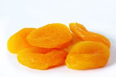 Apricot. Dried apricot fruits isolated over white background royalty free stock image