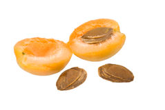 Apricot. Two half of apricot on a white background Stock Photography