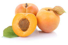 Apricot apricots fruit fresh fruits  on white Royalty Free Stock Photos