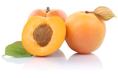 Apricot apricots fruit fruits isolated on white Stock Images