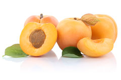 Apricot apricots slice half fruit fruits isolated on white Royalty Free Stock Photos