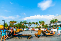 Apricot beach in Museon park of Moscow Royalty Free Stock Image