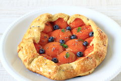 Apricot and bluberry galette Stock Photography