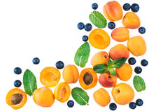 Apricot, blueberry and mint, isolated, top view, copy space stock image