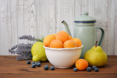 Apricot, blueberry and pear Royalty Free Stock Images