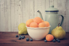 Apricot, blueberry and pear Royalty Free Stock Photography