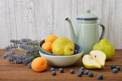 Apricot, blueberry and pear Royalty Free Stock Image