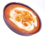 Apricot cake. Cake apricot meringue dessert isolated on white Stock Photos
