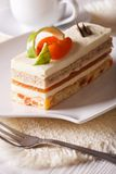 Apricot cake close-up on a plate. vertical Royalty Free Stock Photo
