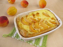 Apricot cake. And fresh fruits Stock Photo