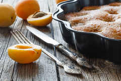 Apricot cake or pie with fresh fruits, cheesecake Royalty Free Stock Image