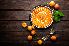 Apricot cake or pie with fresh fruits, cheesecake Royalty Free Stock Photography