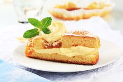 Apricot cake with pudding cream Stock Photo