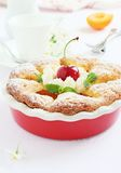 Apricot cake with sweet cherry Stock Photography
