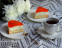 Apricot cake. Tasty low-calorie fruit cake with an apricot royalty free stock images