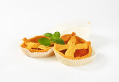 Apricot cakes with lattice. On top on white background stock image