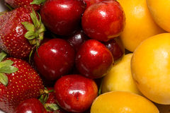 Apricot, Cherry and Strawberry Royalty Free Stock Photos
