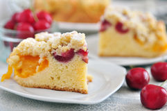 Apricot Cherry Streusel Cake Royalty Free Stock Images