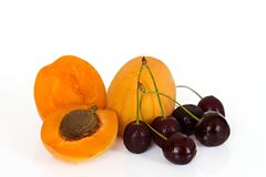 Apricot and cherry Royalty Free Stock Photography
