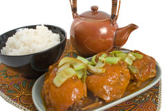 Apricot Chicken and Rice. Over white background Royalty Free Stock Images