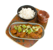 Apricot Chicken and Rice. Isolated over white background Royalty Free Stock Photos