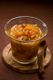 Apricot chutney. Homemade apricot chutney in jar Stock Photo