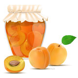 Apricot compote in a jar and fresh apricots Stock Photo