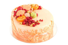 Apricot cream cakes with orange and white chocolate and fruits Royalty Free Stock Photography