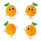 Apricot. Cute fruit character set isolated on white Stock Images