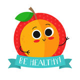 Apricot, cute fruit vector character badge Stock Images