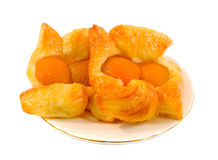 Apricot Danish. Two apricot danish pastries over white background Stock Photos