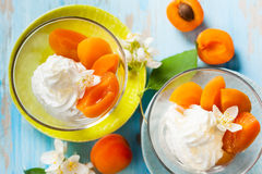 Apricot dessert. Dessert with yogurt,honey and apricot compote Royalty Free Stock Photo