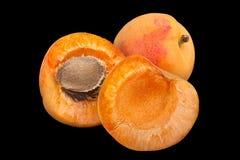 Apricot fruit closeup on balck Stock Images