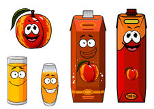 Apricot fruit and juice characters Stock Image