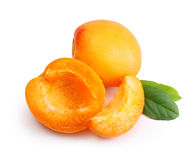 Apricot fruit with leaf Stock Photos