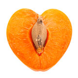 Apricot fruit slice shape as heart Royalty Free Stock Photography
